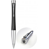 Ручка шариковая Parker URBAN Premium  Ebony Metal Chiselled  BP Трезубец на торце 21 232Ч_TR